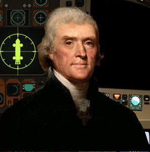 Thomas Jefferson in his ship