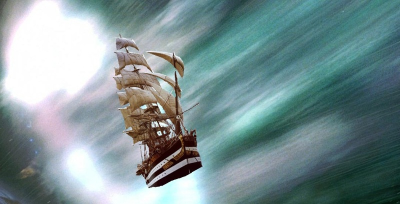 Thomas Jefferson's ship coming out of the temporal vortex